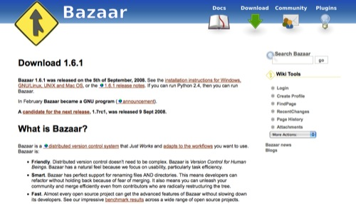 bazaar Popular Open Source Version Control systems