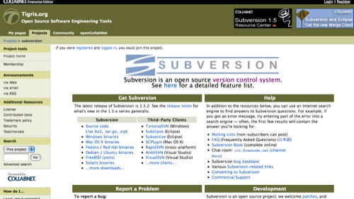 svn homepage Popular Open Source Version Control systems